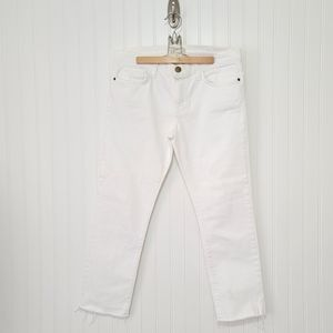 Current/Elliott white frayed ankle & cropped jeans